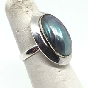 🆕Vintage Sterling Silver & Iridescent Shell Ring